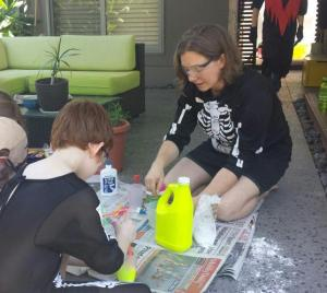 Halloween slime making